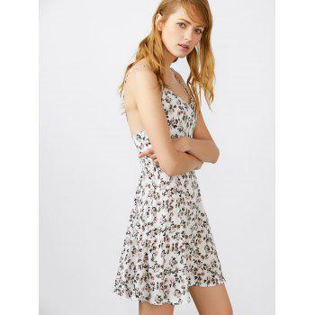 Spaghetti Strap Tiny Floral Print Mini Sundress - WHITE M
