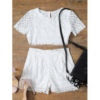 Short Sleeve Guipure Lace Crop Top + Pocket Design Shorts