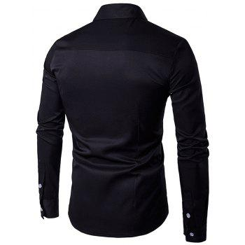 Embroidered Turndown Collar Long Sleeve Shirt - BLACK BLACK