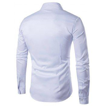 Embroidered Turndown Collar Long Sleeve Shirt - WHITE WHITE