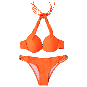 Stylish Halterneck Push Up Women's Bikini Set - ORANGE ORANGE
