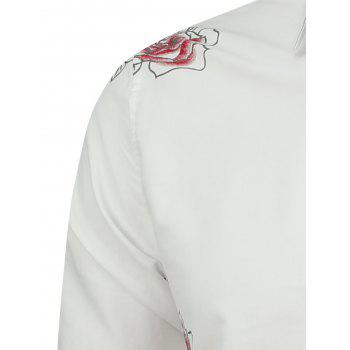 Long Sleeve Shirt with Flower Pattern - WHITE WHITE