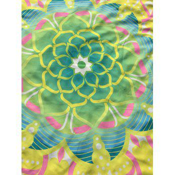 Mandala Lotus Flower Print Round Beach Cover Throw - YELLOW YELLOW