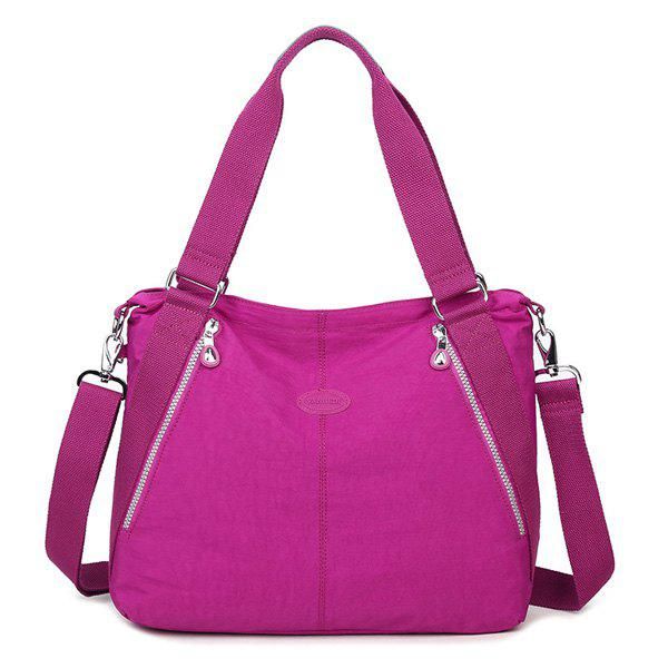 Casual Zips Detail Nylon Shoulder Bag - ROSE MADDER