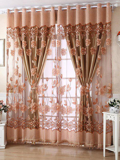 1Pcs Grommet Ring Roller Floral Window Tulle - LIGHT COFFEE 100*250CM