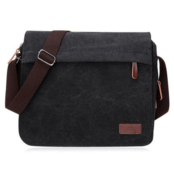 Casual Canvas Flapped Messenger Bag - BLACK