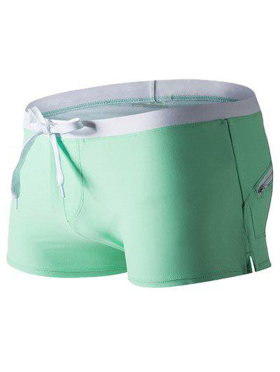 Side Slit Drawstring Waist Swimming Trunks - GREEN S
