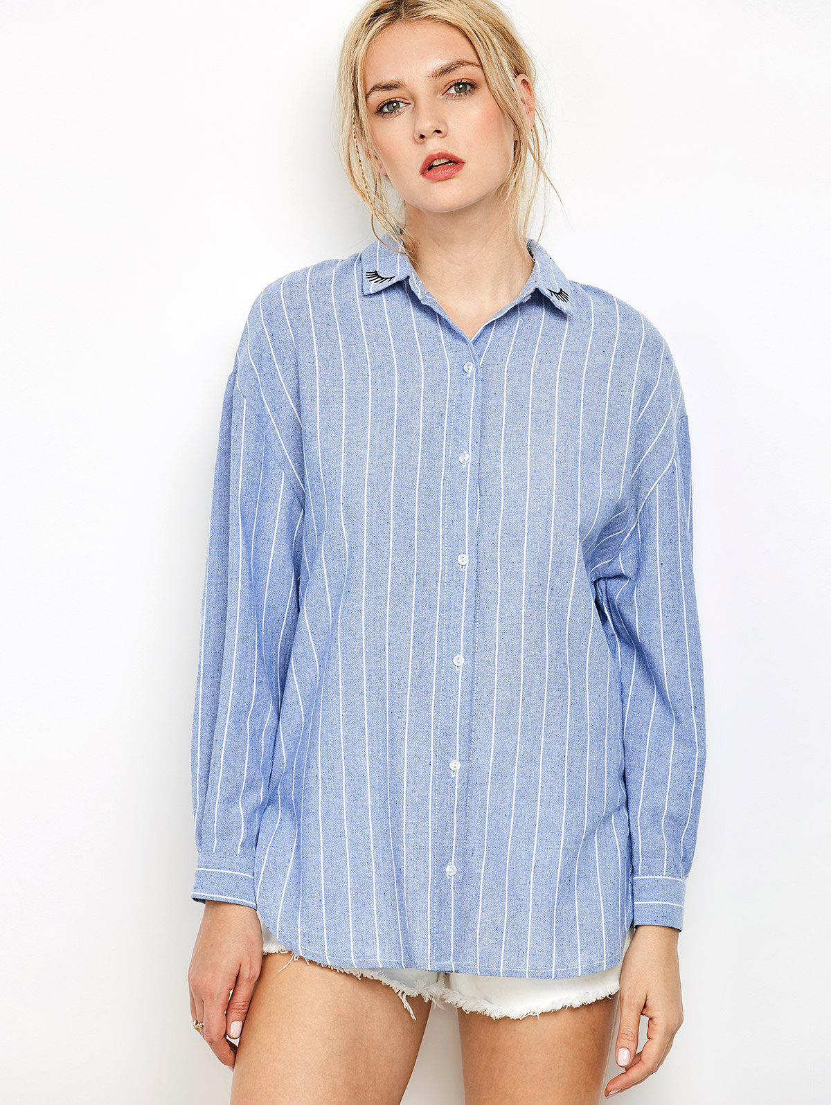 2018 oversized embroidered striped chambray work shirt for Embroidered work shirts online