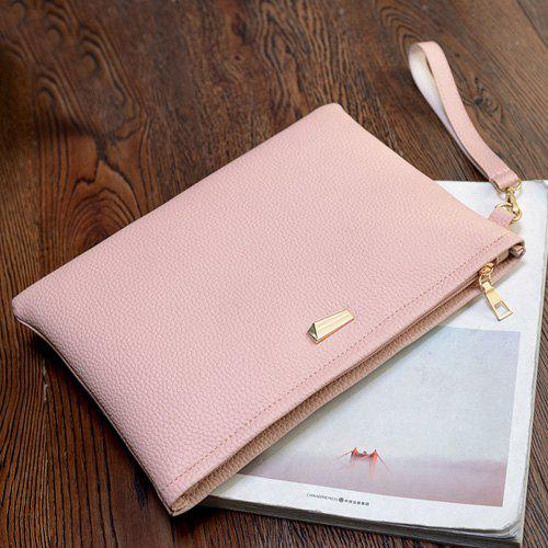 Faux Leather Wristlet Clutch Bag - SHALLOW PINK