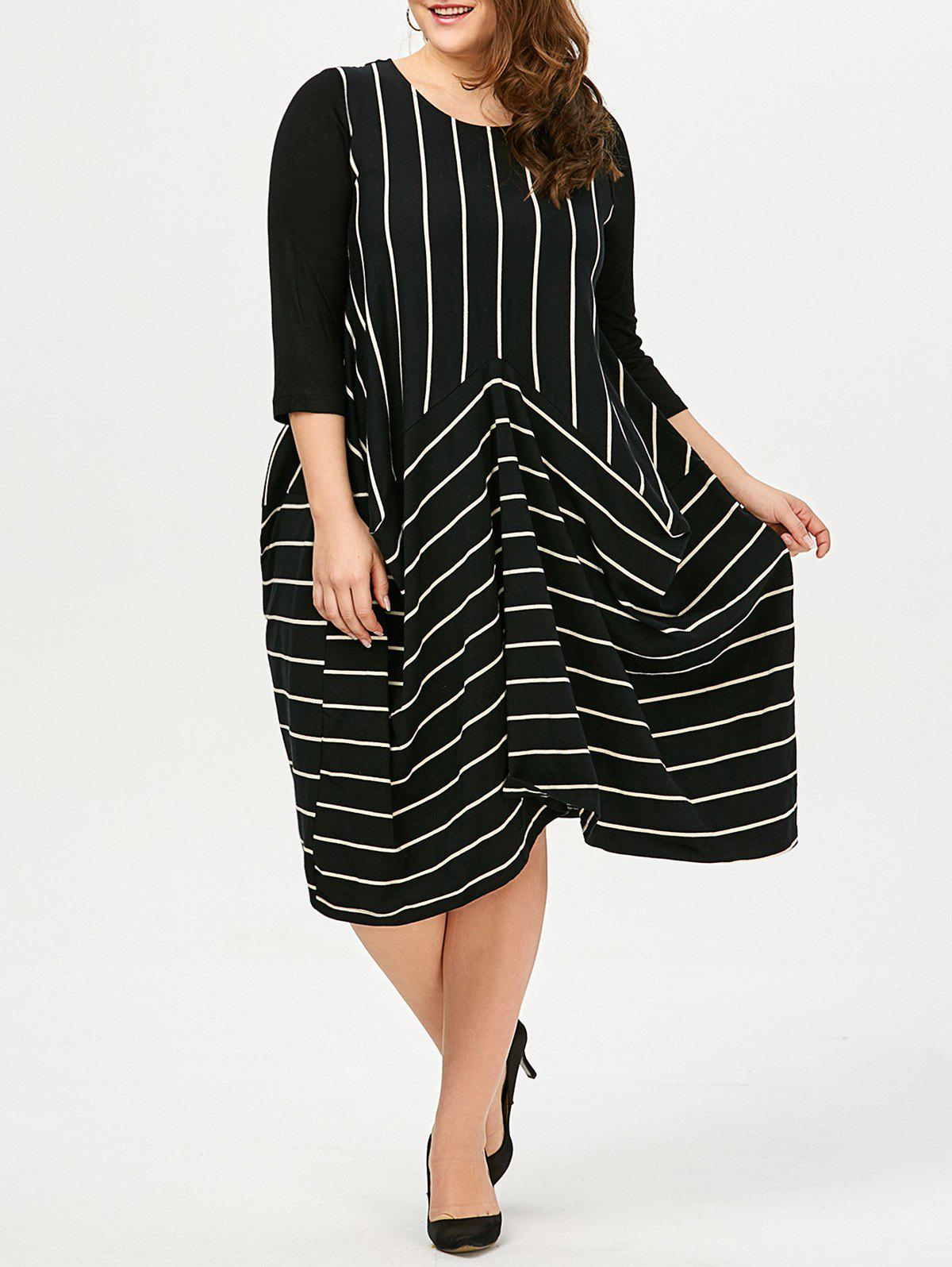Stripe Asymmetric Plus Size Dress - Rayure 2XL