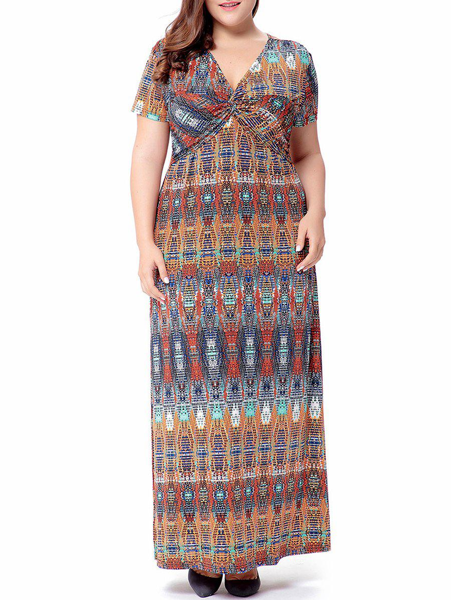 Maxi Printed Knot Long Robe de Bohème - multicolorcolore 3XL