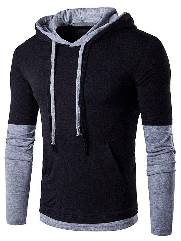 Hooded Panel Faux Twinset Drawstring T-Shirt - BLACK S