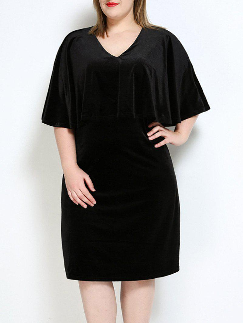 Velvet Plus Size Cape Robe - Noir 3XL