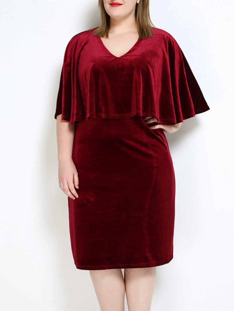 Velvet Plus Size Cape Robe - Rouge vineux 4XL