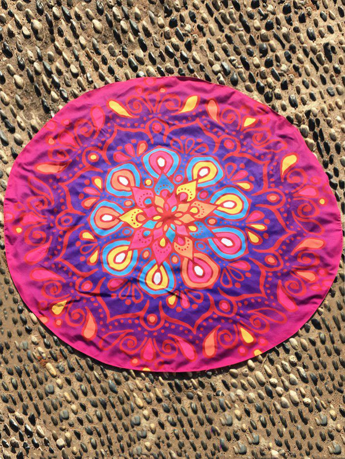 Ethnic Waterdrop Print Ombre Round Beach Cover Throw - ROSE MADDER ONE SIZE