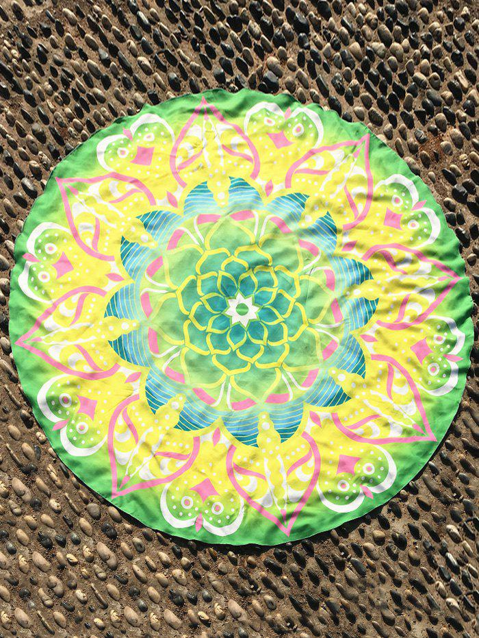 Mandala Fleur de Lotus Imprimer Plage Round Cover Throw - Jaune ONE SIZE