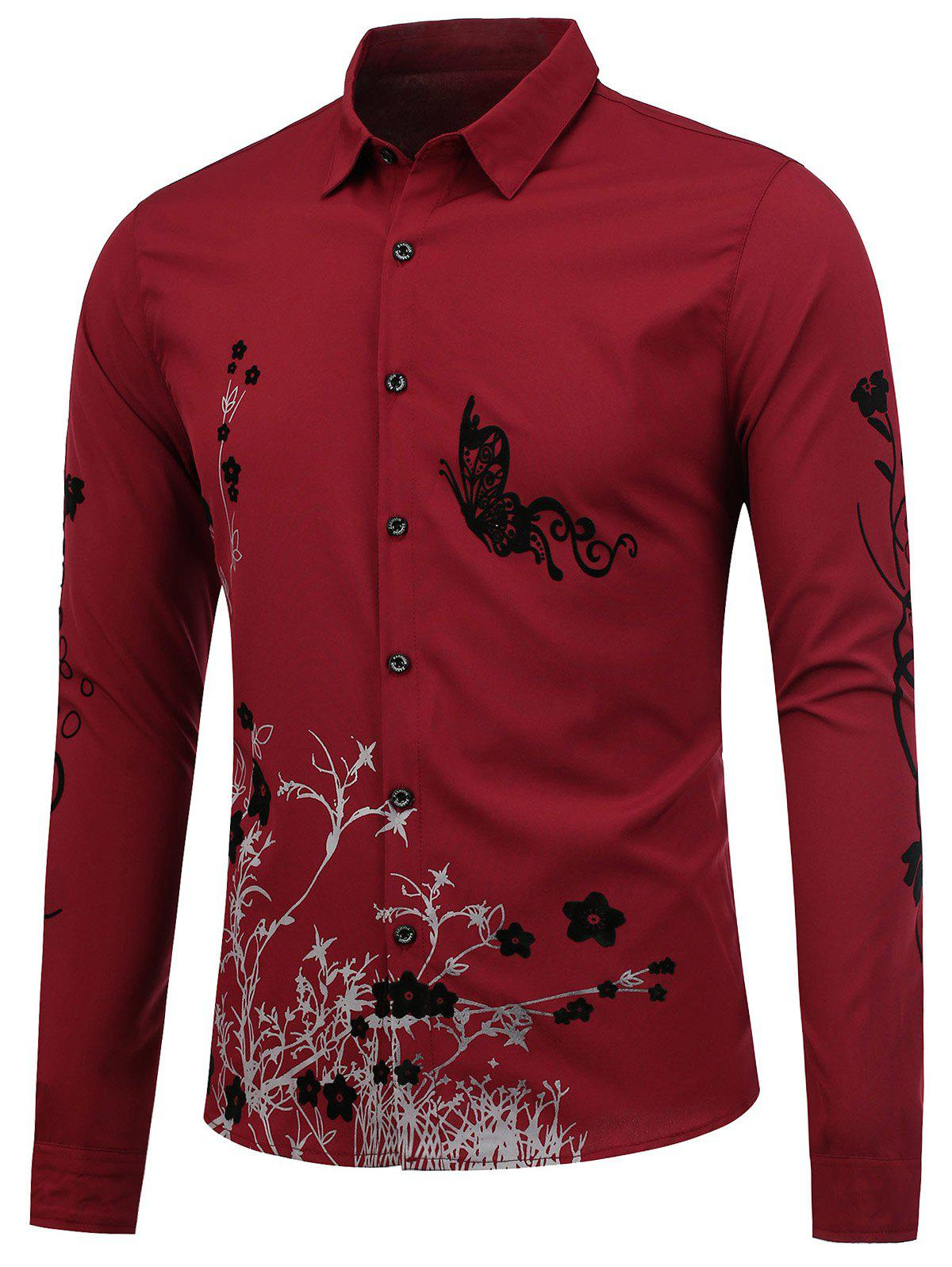 Slim Fit Butterfly Floral Shirt - WINE RED 2XL