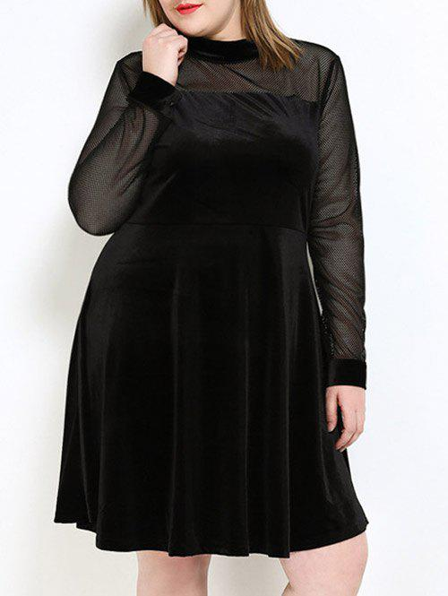 Velvet A Line Plus Size Dress - Noir 7XL