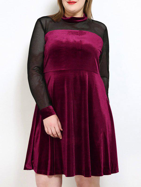 Velvet A Line Plus Size Dress - Rouge vineux 3XL