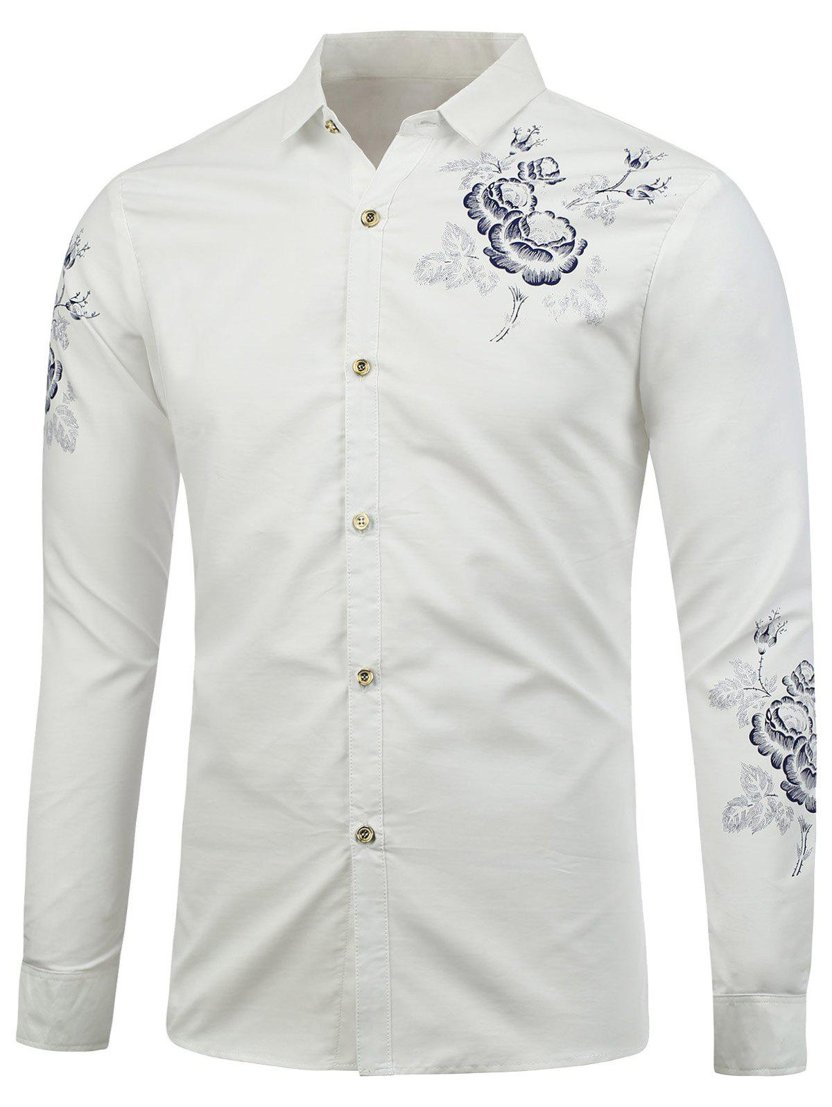 Long Sleeve Flower Print Shirt - WHITE 2XL