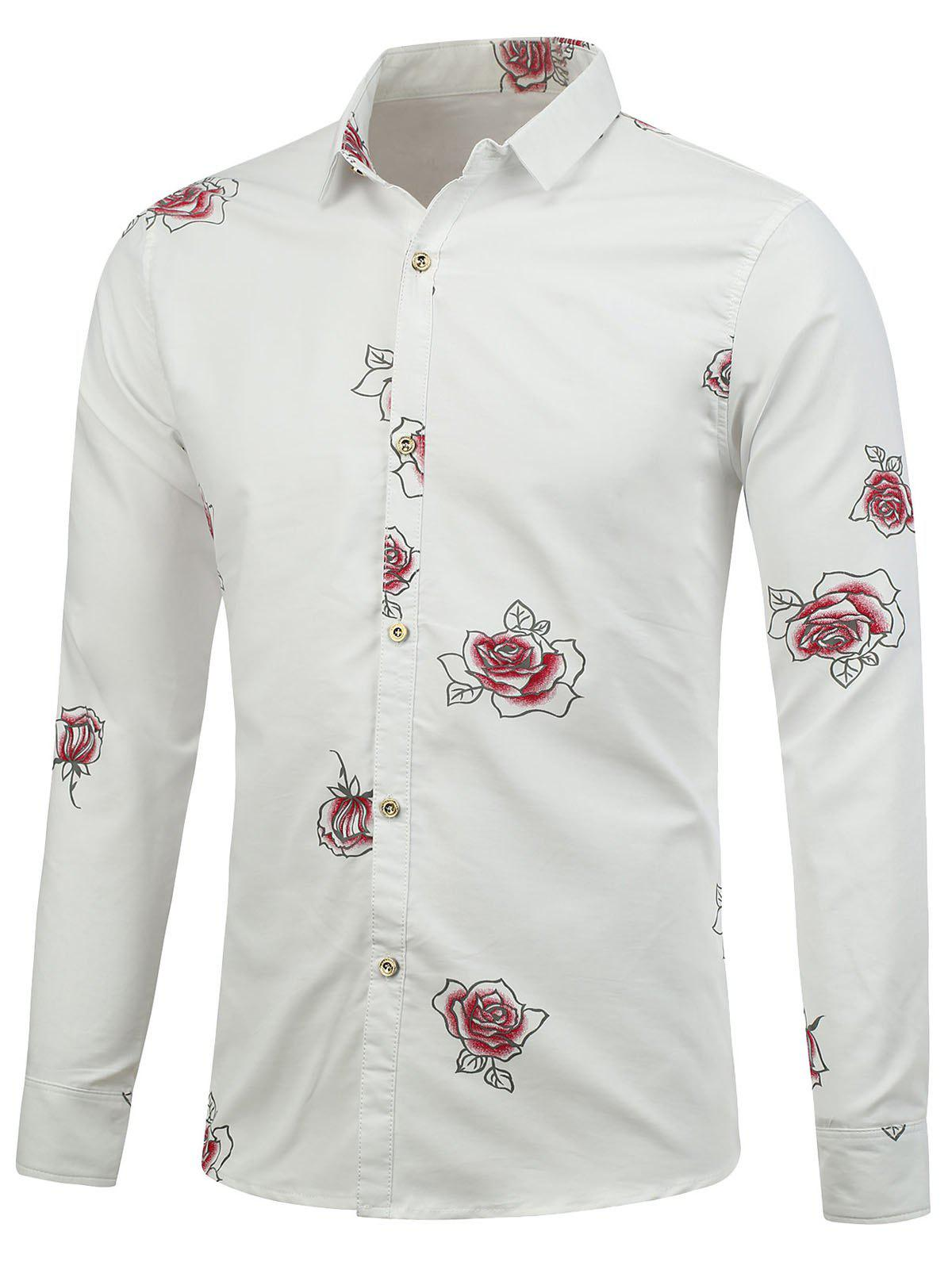 Long Sleeve Shirt with Flower Pattern - WHITE 2XL