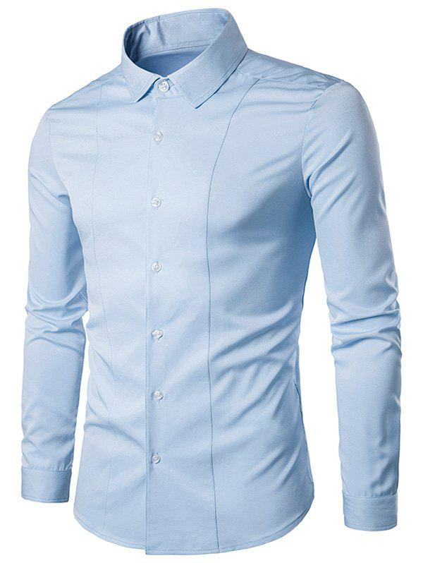 Long Sleeve Slimming Shirt - LIGHT BLUE M