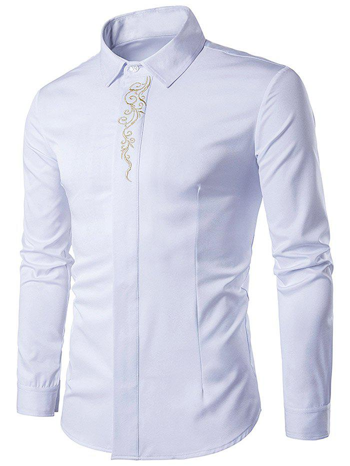 Embroidered Turndown Collar Long Sleeve Shirt - WHITE S