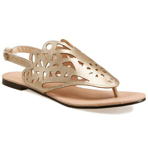 Faux Leather Hollow Out Sandals - GOLDEN 37