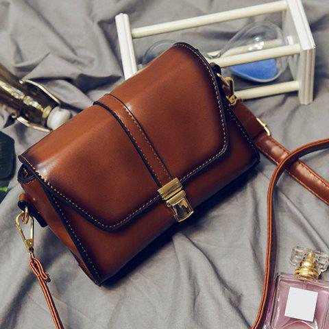 ce1051e93d0a 2019 Push Lock Faux Leather Crossbody Bag In BROWN
