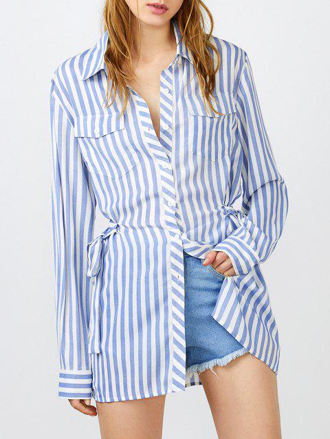Poches Belted longues Chemise à rayures - Rayure M