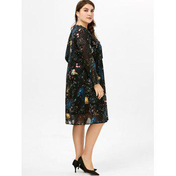 Chiffon Long Sleeve Plus Size Dress - 2XL 2XL