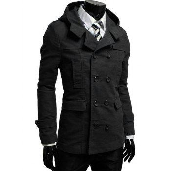 Hooded Double Breasted Pea Coat