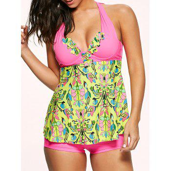 Halter Bowtie Padded Backless Underwire Tankini Swimsuit