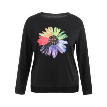 Plus Size Floral Graphic Rhinestoned T-Shirt