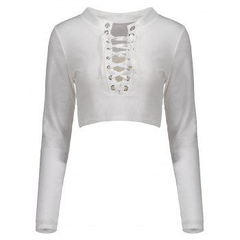 Lace Up Long Sleeves Crop Top
