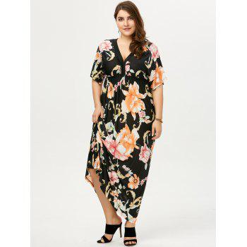 Plus Size Dolman Sleeve Floral Print Bohemian Dress - 5XL 5XL