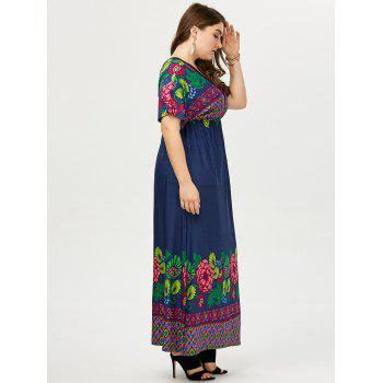 Plus Size Deep V Neck Printed Maxi Dress - 2XL 2XL