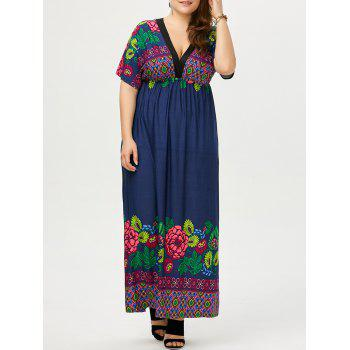 Plus Size Deep V Neck Printed Maxi Dress - DEEP BLUE 2XL