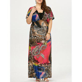 Plus Size Leopard Printed Maxi Dress - BLACK 5XL