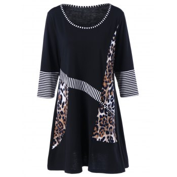 Plus Size Leopard and Striped Longline T-Shirt