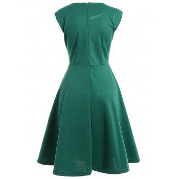 Retro Ruched Sweetheart Neck Flare Dress - GREEN S