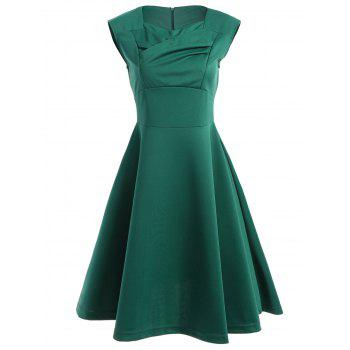 Retro Ruched Sweetheart Neck Flare Dress