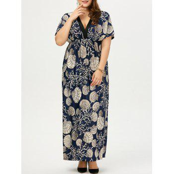 Plus Size Drawstring Maxi Floral Dress - PURPLISH BLUE 2XL