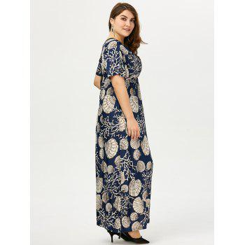 Empire Waist Maxi Print Dress for Plus Size - 3XL 3XL