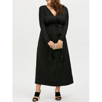 Plus Size Deep V Neck Maxi Evening Dress with Long Sleeve - BLACK 2XL