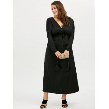 Plus Size Deep V Neck Maxi Evening Dress with Long Sleeve - 2XL 2XL