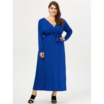 Plus Size Deep V Neck Maxi Evening Dress with Long Sleeve - 4XL 4XL