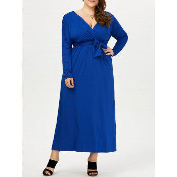 Plus Size Deep V Neck Maxi Evening Dress With Sleeves
