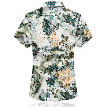Floral Short Sleeve Shirt - GREEN L