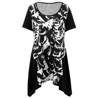 Plus Size Abstract Print Asymmetrical Longline T-Shirt